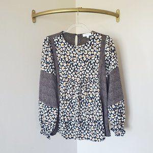 Hailey & Co Leopard Print Long Sleeve Blouse S